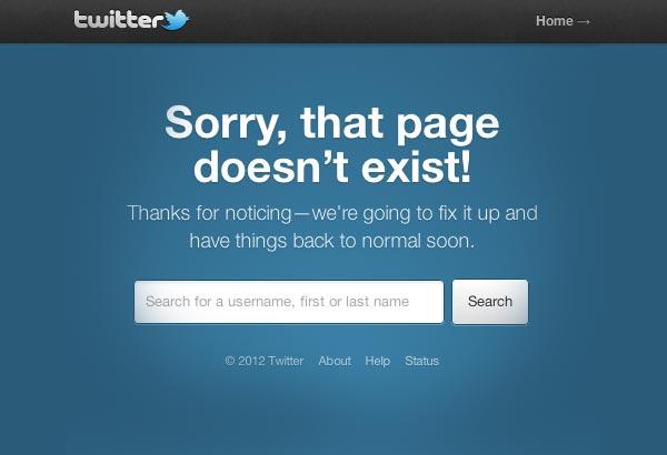 Página de error 404 de Twitter